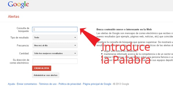 Como poner alertas en Google