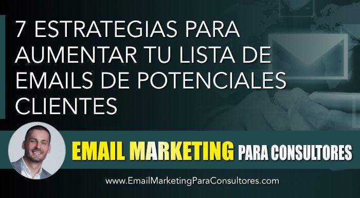 estrategias aumentar lista emails clientes
